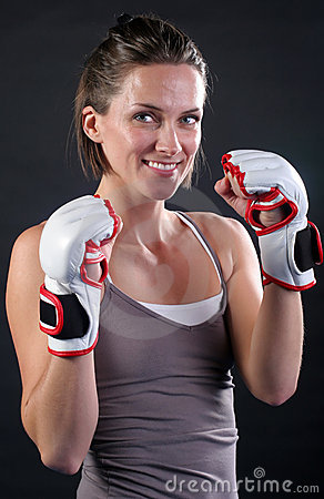 Free Pretty Fighter Girl Smiling Royalty Free Stock Images - 19815759