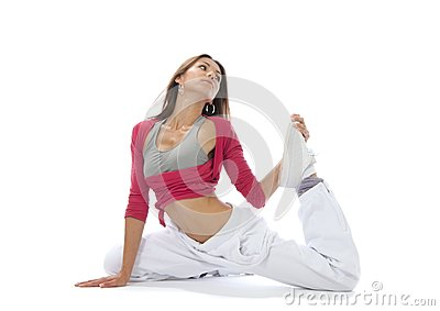 Pretty flexible dancer woman stretching
