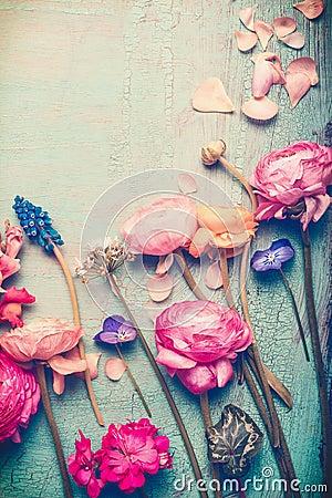 Free Pretty Flowers Retro Pastel Toned On Vintage Turquoise Background Royalty Free Stock Photos - 93267088