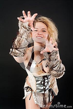 Pretty funny barbarian girl
