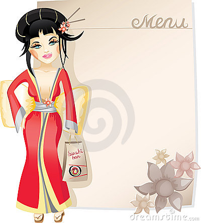 Pretty geisha with sushi Vector Illustration