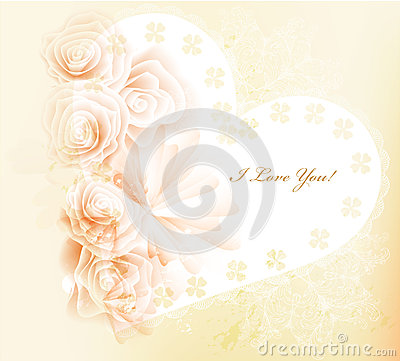 Pretty gentle valentine vector card with roses