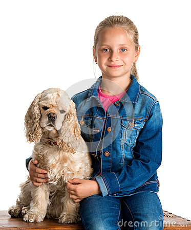 Pretty girl with american spaniel