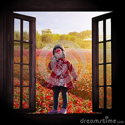 Free Pretty Girl And Flower Field Outside Window Royalty Free Stock Photo - 157812115