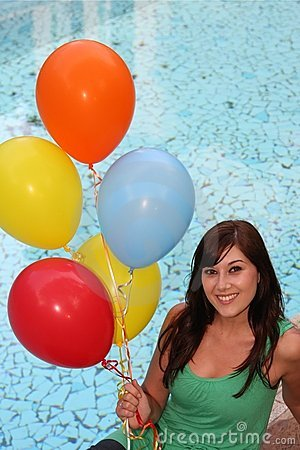 Pretty Girl with Balloons