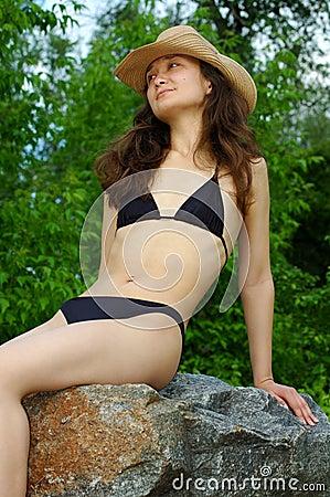Pretty girl in bikini outdoor