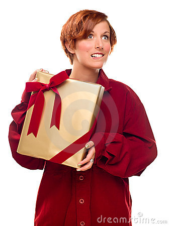 Pretty Girl Biting Lip Holding Wrapped Gift