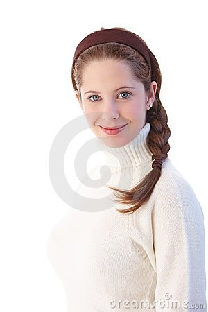Pretty girl with braid smiling