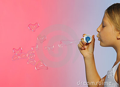 The pretty girl with bubbles heart