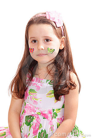 Pretty girl with butterfly stickers on her cheeks
