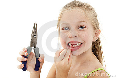 Pretty Girl Child with Loose Tooth