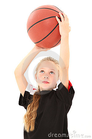 Pretty Girl Child Throwing Basketball