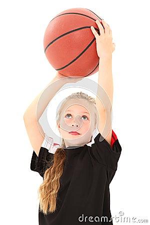 Pretty Girl Child Throwing Basketball