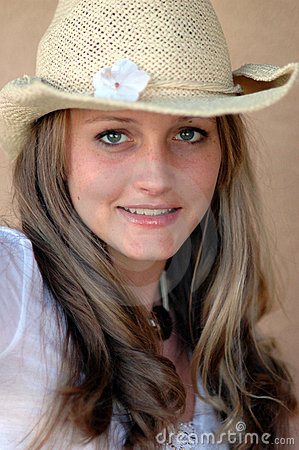 Pretty girl in cowboy hat