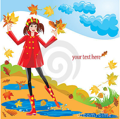 Pretty girl dressing coat and rubber boots