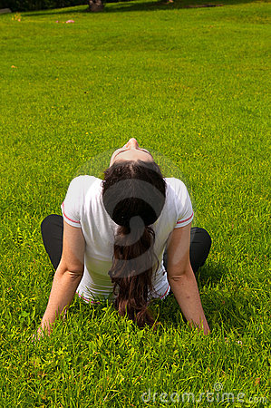 Pretty girl Enjoying sunny spring day