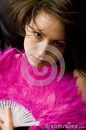 Pretty girl with a fan