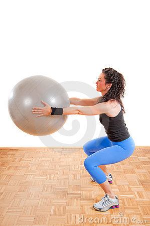 Pretty girl with fitness ball