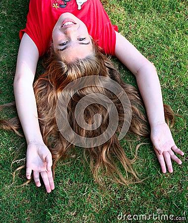 Pretty Girl on Grass
