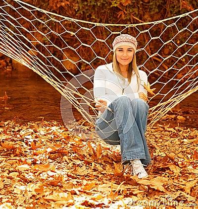 Pretty girl in hammock