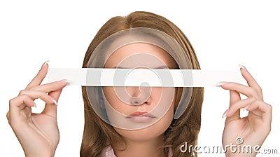 Pretty girl hiding her eyes