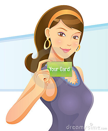 Pretty Girl Holding Card