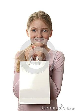 Pretty Girl Holding a Shopping Bag