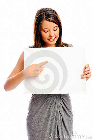 Pretty girl holding a white board
