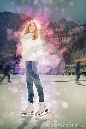 Free Pretty Girl Ice Skating Outdoor At Ice Rink Stock Images - 63695474
