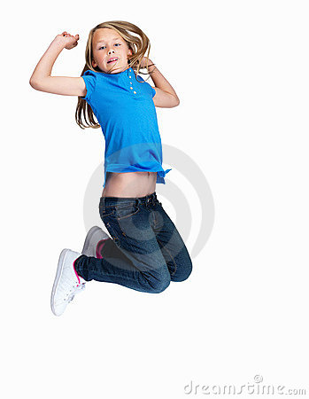Pretty girl jumping in mid air , white background