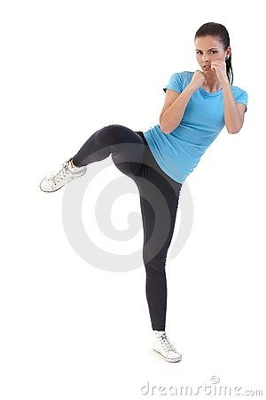 Pretty girl kick-boxing