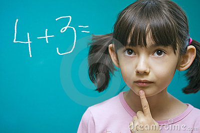 Pretty girl learning math.