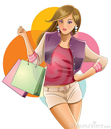 Free Pretty Girl Love Shopping Stock Photography - 20112062