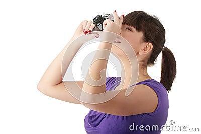 Pretty girl making photo