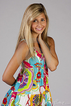 Pretty girl in party dress