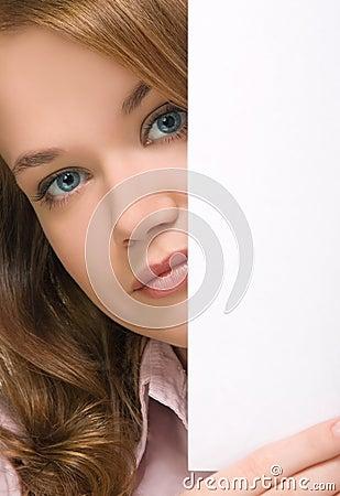 Pretty girl peering