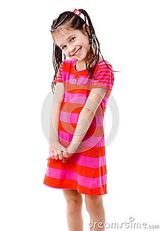 Pretty girl in pink dress