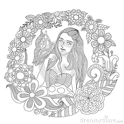 Free Pretty Girl Playing With Butterfly In The Flowers Garden Line Art For Coloring Page For Adult. Royalty Free Stock Photography - 60783577