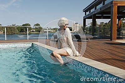 Pretty girl poolside