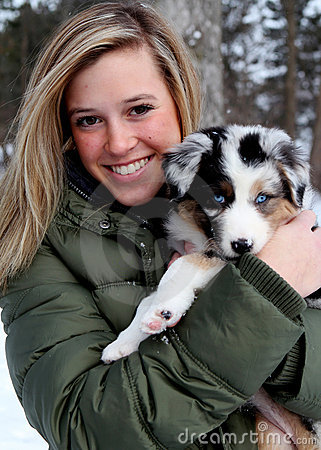 Pretty Girl with Puppy