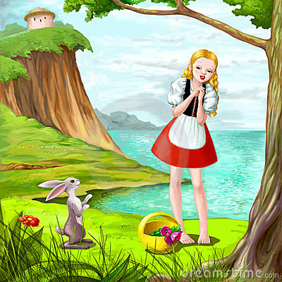 Pretty girl with rabbit near the river