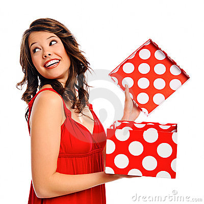 Pretty girl receives a present