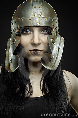 Pretty girl with  roman helmet
