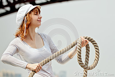Pretty girl with a rope