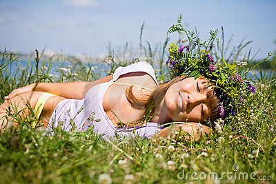Pretty girl  sleep on field