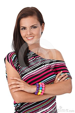Pretty girl smiling in stripy blouse