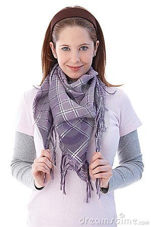 Pretty girl smiling wearing scarf