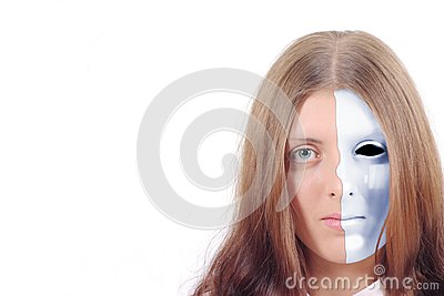 Pretty girl with a split blue mask on his face