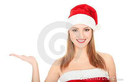 Pretty girl wearing red Christmas hat