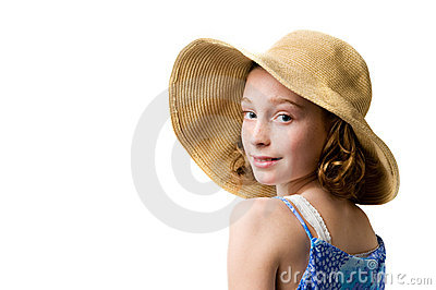 Pretty girl wearing a straw sunhat